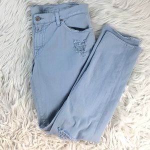 7 FOR ALL MANKIND DISTRESSED JEANS POWDER BLUE 31